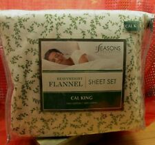 Seasons Collection Heavyweight Flannel Cal King , Full Sheet Set , Pillowcases
