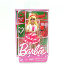 "Holiday Barbie Mini Figure (Candy Cane Stripe Dress), 4"" Doll Stocking Stuffer"