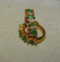 Gold Plated Sterling Silver Emerald Marquise Hoop Pierced Earrings 12i 72