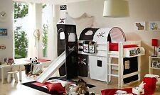 Lit mezzanine avec toboggan et tour TOBY R Hêtre massif teinté blanc tissus Pira