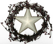 """Country Rustic 8"""" Twig Pip BERRY swag WREATH metal 5.5"""" White STAR garland Sign"""