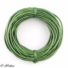 Green Metallic Round Leather Cord 1 mm 25 meters (27.34 yards)