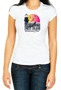 Amity Island Welcomes You Jaws T-shirt 3/4 Short Sleeve Fashion For Woman K057