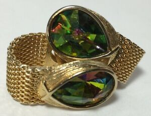 Vintage SWANK Multi Color Facet Teardrop Gemstone Gold Tone Mesh Cuff Links Fab