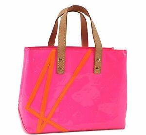 Authentic Louis Vuitton Vernis Fluo Reade PM Hand Bag Pink M91903 LV D9668