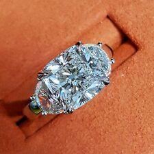 Gorgeous 2.10 Ct Cushion & Half Moon 3-Stone Diamond Engagement Ring E,VS2 GIA