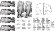 Kunstunterricht Kopiervorlagen A. Dürer Neugestaltung Rhinoceros Muster Struktur