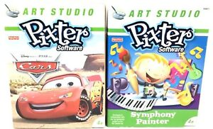 Lot of 2 Fisher Price Pixter Software CARS & SYMPHONY PAINTER Game Age 4+ New