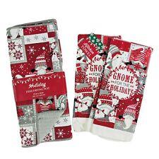 Christmas Gnomes Dish Drying Mat + Kitchen Towel Set Holiday Decoration Gift New