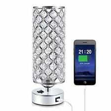 Crystal USB Table Lamp, Aooshine Modern Design Crystal Bedside Table Lamp with