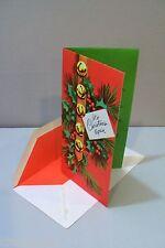 Vtg Card Highlights for Christmas Sleigh Bells Holly 50's Unused