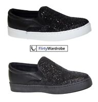 Womens Ladies Plimsolls Flat Trainers Sneakers Shiny Diamante Comfort Shoes UK
