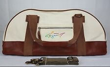 Greg Norman Leather Canvas Reef & Bungalow Resort Duffle Overnight Gym Bag Large