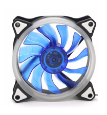 3+4 PIN 12CM 120x120x25mm 12cm RING HALO BLUE LED ULTRA SILENT CHASSIS CASE FAN