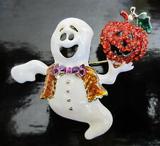 HALLOWEEN GHOST & JACK-o-LANTERN PUMPKIN PIN BROOCH BRIGHT RHINESTONES!