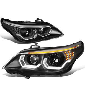 For 2004-2007 BMW 525i 530i E60 LED Halo+Turn Signal Projector Headlight Lamps