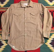 Vtg 1960's Wrangler Brown Sanforized Chambray Western Pearl Snap Shirt Sz. M!