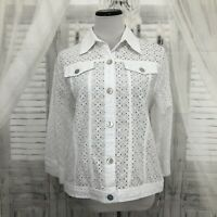 Alfred Dunner Sz 8 Solid White Eyelet 100% Cotton Jacket Button Lightweight B41