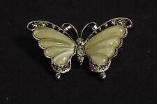 Pearl Green Brooch w Diamonds(S465) Beautiful Vintage Look Metal Butterfly Shape