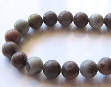 50pcs 8mm Round Natural Gemstone Beads - Chinese Painting Stone (Chohua Jasper)