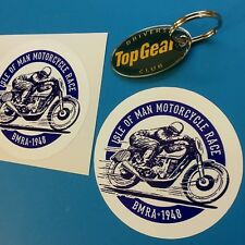 ISLE OF MAN MOTORCYCLE RACE Classic Vintage Retro Stickers Decals 85mm  2 off