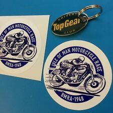 ISOLA di MAN Moto corsa classica vintage con Adesivi Decalcomanie 85mm 2 OFF