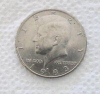 1983D U. S. Kennedy Half Dollar, circulated, uncertified, ungraded, raw 50 cent