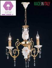 lampadario 3 luci classico oro francese porcellana camera da letto ingresso