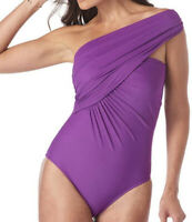 NWT Magicsuit Solid Goddess Purple Underwire One-Piece Swimsuit Women's Size 8