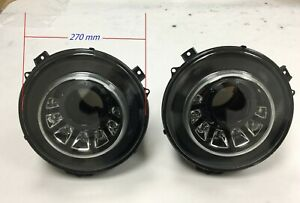 HEAD LIGHT LAMPS SET M STYLE WHITE LED BLACK For '2010-'2015 BENZ W463 G-CLASS