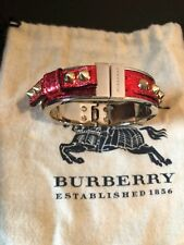 NEW BURBERRY RED LEATHER STUDDED BANGLE BRACELET SPIKES GOLD ITALY