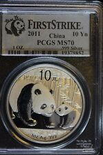 **2011**China, 10 Yuan .999ag Panda, PCGS Graded**MS-70** First Strike #19379852