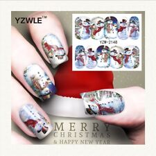 Nail Art Water Decals Stickers Christmas Blue Snowman Snow (A148)