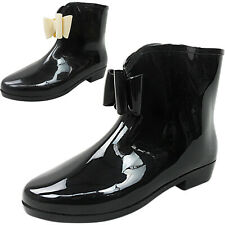 Ladies Womens Bow Wellies Wellington Rain Snow Ankle Boots Shoes Size Low Heel