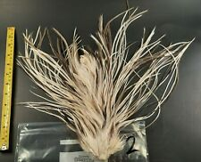 White Splash Blue Dun Rooster Saddle Hackle Long Thin Dry Fly Tying Feathers 2