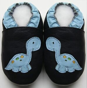 Minishoezoo soft sole baby leather shoes dino navy sky 6-12m free shipping