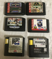 Sega Genesis Football Sports Lot 6 Games Madden 95 & 97, College National Champ