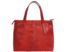 Genuine Crocodile Leather Handbag Red Color