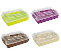TRAVEL Cake Container Carrier STORAGE Lid Plastic Box Cupcake PORTABLE LOCKABLE