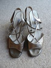GABOR - size 5 - gold sheen Leather Heeled Ladies strappy Shoes/ Sandals - vgc