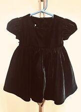 $98 Plum Pudding BABY GIRL BLACK VELVET DESIGNER Formal Dress 6 MOs Designer NWT