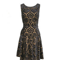 Betsy Johnson Women's Sleeveless Fit n Flare Dress Size 10 Blue Jacquard