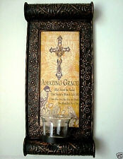 ETCHED METAL SCROLL,AMAZING GRACE,WALL SCONCE,W/ CROSS & GLASS CANDLE HOLDER,NEW