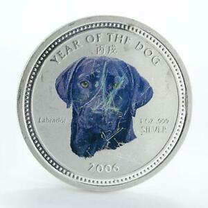 Cambodia 3000 riels Year of the Dog Labrador silver color coin 2006