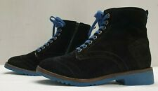 DUNE ladies womens black real suede fur lined lace ankle boots Size 2.5 EU 35.5