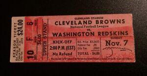 11/7/54 Ticket Stub Cleveland Browns 62 - Washington Redskins 3 - Enough Said...