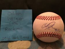 COLTON WELKER SIGNED MINOR LEAGUE BASEBALL/ COLORADO ROCKIES # 4 PROSPECT/ 3B
