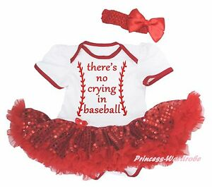 No Crying in Baseball White Cotton Bodysuit Red Bling Sequins Baby Dress NB-18M