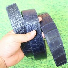 Replacement Belt No Buckle Crocodile Leather No Jointed Blue, W4.0, 115cm