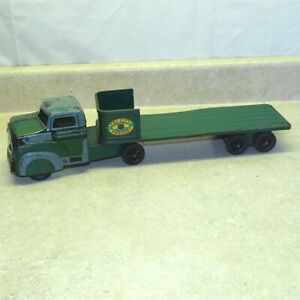 Vintage Marx Tri-City Freight Truck, Trailer, Pressed Steel Toy
